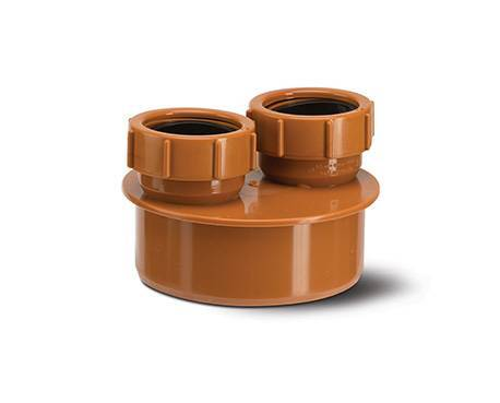 Underground drainage 110mm waste pipe adaptor double 40mm for Below ground drainage systems explained