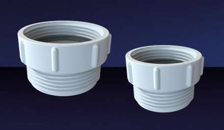 An image of two UK to EU Waste Adaptors in two various sizes from Polypipe.