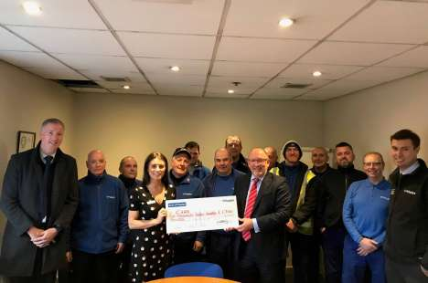 The Polypipe Team presenting their cheque to Megan from CHAS