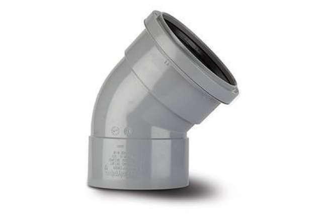 Offset Bend 4in/110mm. 135°. Ring seal socket x solvent socket