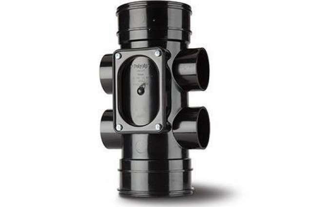 Access Pipe 4in/110mm. Double Socket - 4 Boss Shoulders.