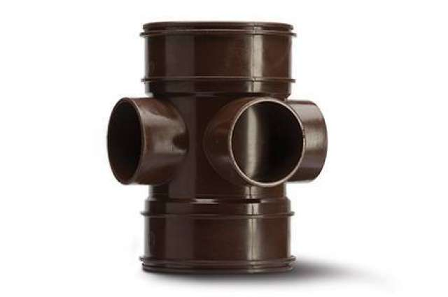Three Way Bossed Pipe 4in/110mm. Double Socket.
