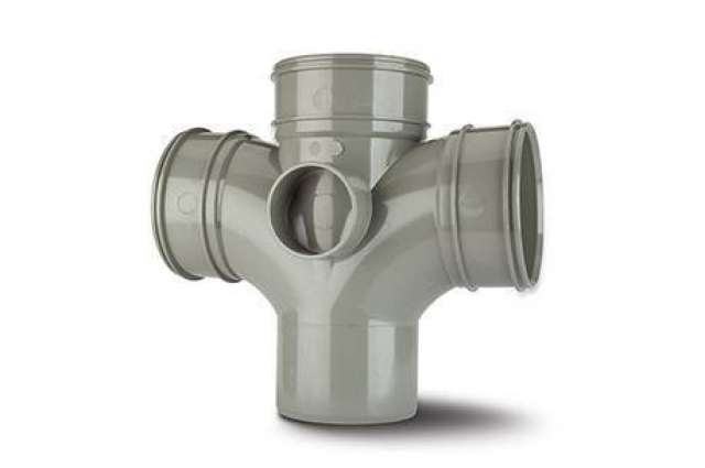Double Branch 4in/110mm. 92½° (only use in the vertical position). (Triple Socket/Spigot).