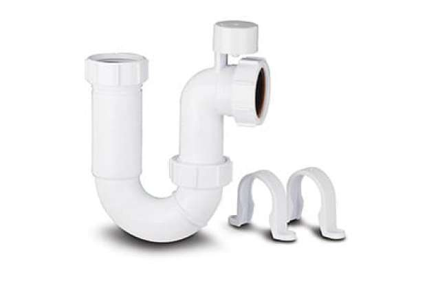 Washing Machine Trap 75mm Seal 40mm. Anti-Syphon with 0.6m Upstand Pipe & 2 Clips.