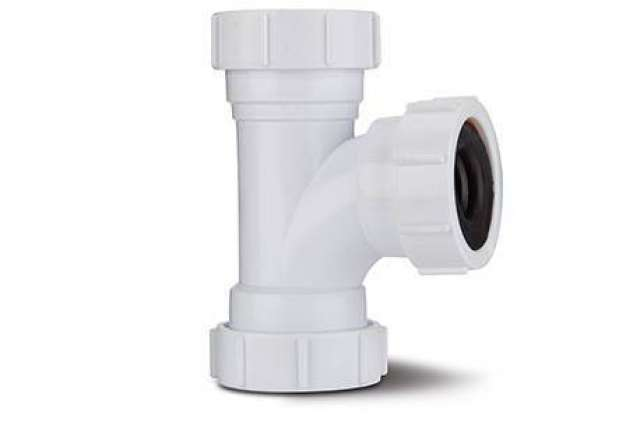 Condensate Universal Swept Tee 21.5mm. 21.5mm x 40mm Swept Tee, alternative to waste saddle if pipes can be cut & moved axially.