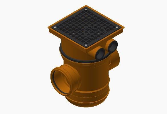 Terrain underground drainage pipe system gullies and hoppers for commercial buildings