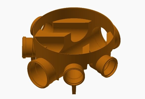 Terrain underground drainage pipe system inspection chambers for commercial buildings